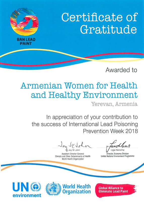 AWHHE International Award for the Contribution to Elimination Lead in Paints